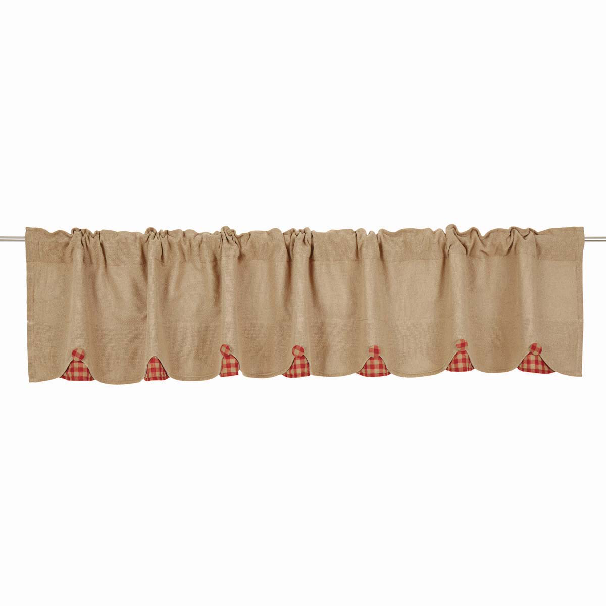BURLAP NATURAL Valance w/Red Check - 16x90 - Country Farmhouse - VHC Brands