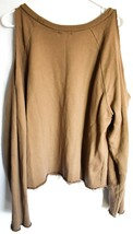 Ash Rain + Oak Brown Raw Hem Cold Shoulder 100% Cotton Pullover Sweatshirt S image 2