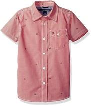 Tommy Hilfiger Big Boys' Short Sleeve Gingham Woven Shirt, Hibiscus Tea,... - $17.05