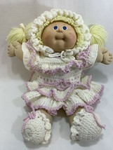 Vtg 1985 Cabbage Patch Kids Girl Doll Yellow Blonde Hair w/Dress Outfit #8 HM - $29.69