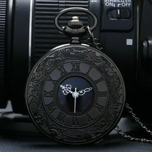 Pocket Watch Black Vintage Charm Unisex Fashion Roman Number Quartz Steampunk - $11.33