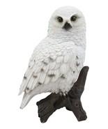 Realistic Snowy Tundra White Owl Bird Perching On Tree Branch Statue 6.5... - $29.99