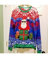Mens Ugly Christmas Sweater L Jolly Santa Sunglasses Drink Pouch Sequin 3D - $35.00