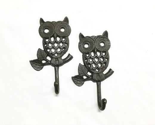 Cast Iron Owl Coat Hook Rustic Set of 2