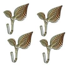 WISHAVE 4 Pcs Leaf Pattern Metal Shower Curtain Tieback Hooks Wall Decor... - $10.31