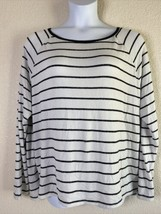 Old Navy Womens Size XXL White & Charcoal Striped Knit Blouse Long Sleeve - $9.11