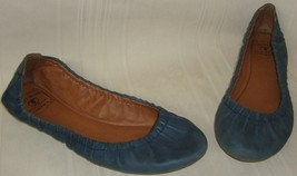 LUCKY BRAND Erla Blue Leather Slip On Ballet Flat Pleated Shoes US Size 7.5 - $28.70