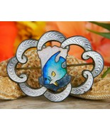 Antique Guilloche Enamel Sterling Silver Fish Brooch Pin Hemsley 1909 - $89.95