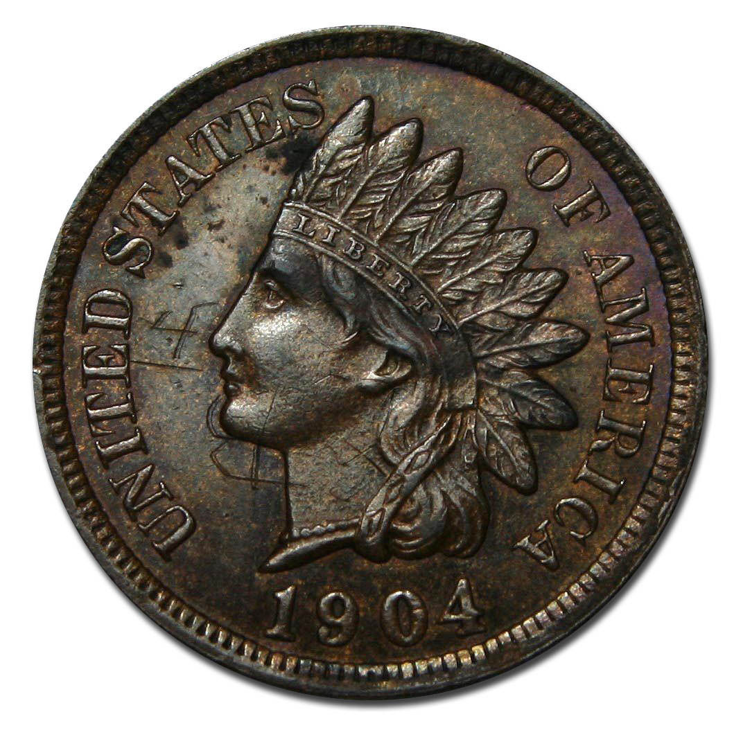 1904 One Cent Indian Head Penny Scratched Coin Lot# A 122