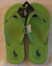 NEW POLO Ralph Lauren Halesowen rubber thong Green + navy Logo flip flop... - $24.74