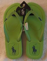 NEW POLO Ralph Lauren Halesowen rubber thong Green + navy Logo flip flops 11D - $24.74