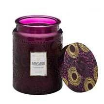 Voluspa Santiago Huckleberry Large Embossed Glass Jar Candle, 16 ounces - $31.26