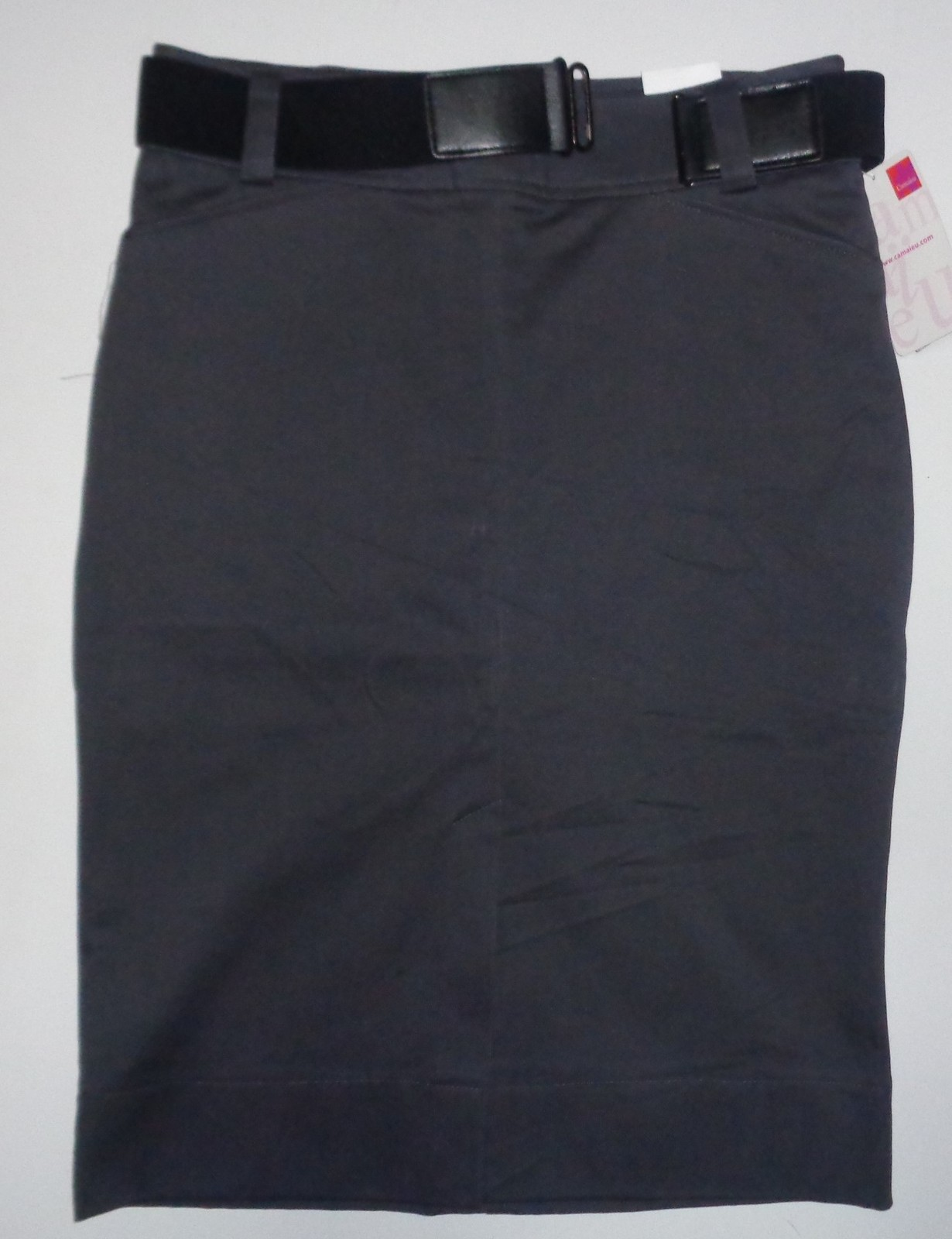 Camaieu Gray Pencil Skirt Black Belt NWT Sz 8