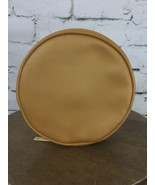 "Estee Lauder Zippered Pouch Makeup Toiletries Round Yellow Gold 6.5"" - $11.88"