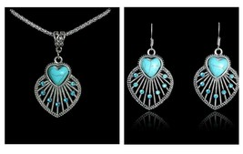 Turquoise Heart Necklace and Earrings Set, Antique Silver Vintage Style - $7.69