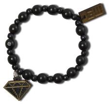 Good Wood New York 8 Bit Diamond Beaded Wooden Elastic Fashion Bracelet NEW