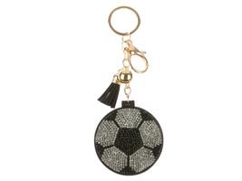 Soccer Ball Mirror Tassel Bling Faux Suede Round Keychain Handbag Charm - $13.95