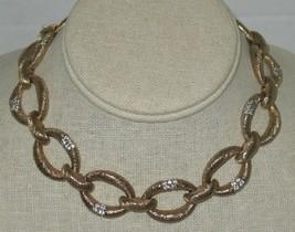 Vtg Panetta Brass? & Rhinestones Chain Link Choker Necklace Costume Jewelry - $286.11