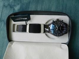 William L 1985 Vintage Chronograph Black Dial Men's Watch w Black Mesh B... - $74.25