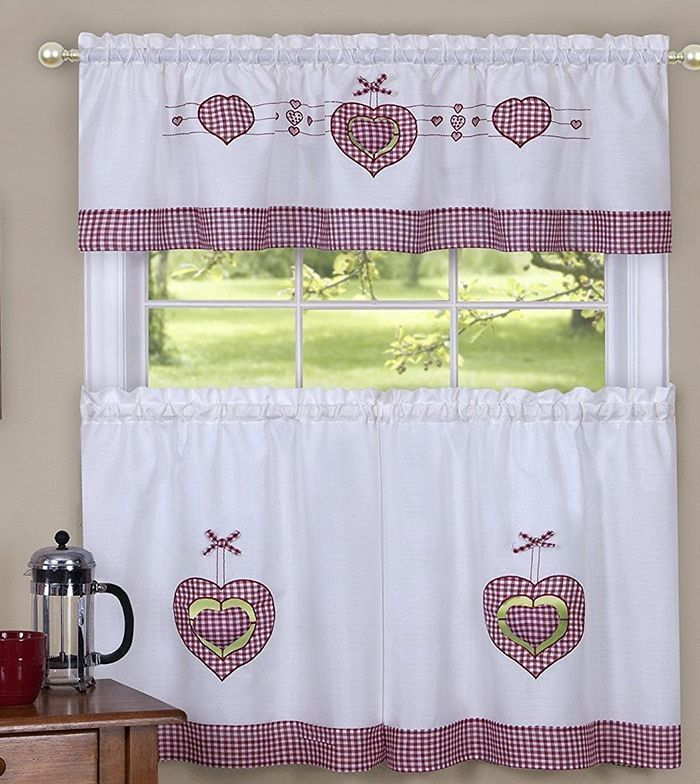 "3 pc. Embellished Curtains Set: 2 Tiers & Valance (56""x14"") GINGHAM HEARTS,Achim - $18.80"