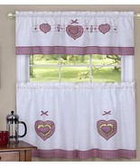 "3 pc. Embellished Curtains Set: 2 Tiers & Valance (56""x14"") GINGHAM HEAR... - $18.80"