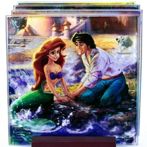 Thomas Kinkade Disney's Little Mermaid Prints 4 Piece Fused Glass Coaster Set image 2