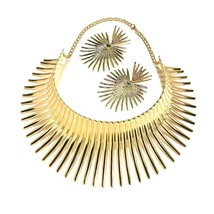 Africa Necklaces Jewelry Set Gold Color Metal Big Exaggerated Torque Choker Neck - $24.06