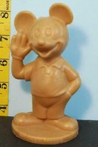 "Vintage Walt Disney Productions Brown Plastic Mickey Mouse Figurine 4"" Tall - $19.31"
