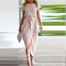 Women Short Sleeve Split Long Dress O-Neck Asymmetric Length - $18.79+
