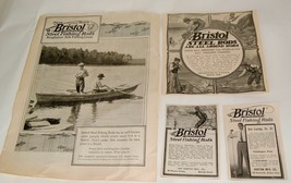 Vintage ads lot of 4 Bristol Steel Fishing Rods Anglers Country Cabin Wa... - $19.75