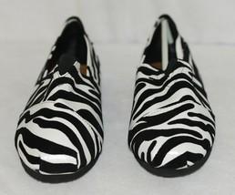 Izzy Mico Slip On Flat Rubber Sole Zebra Print Size Seven image 2