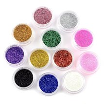 Nail Art Glitter Pots Makeup Decoration Powder Set 12 Mix Colors image 3