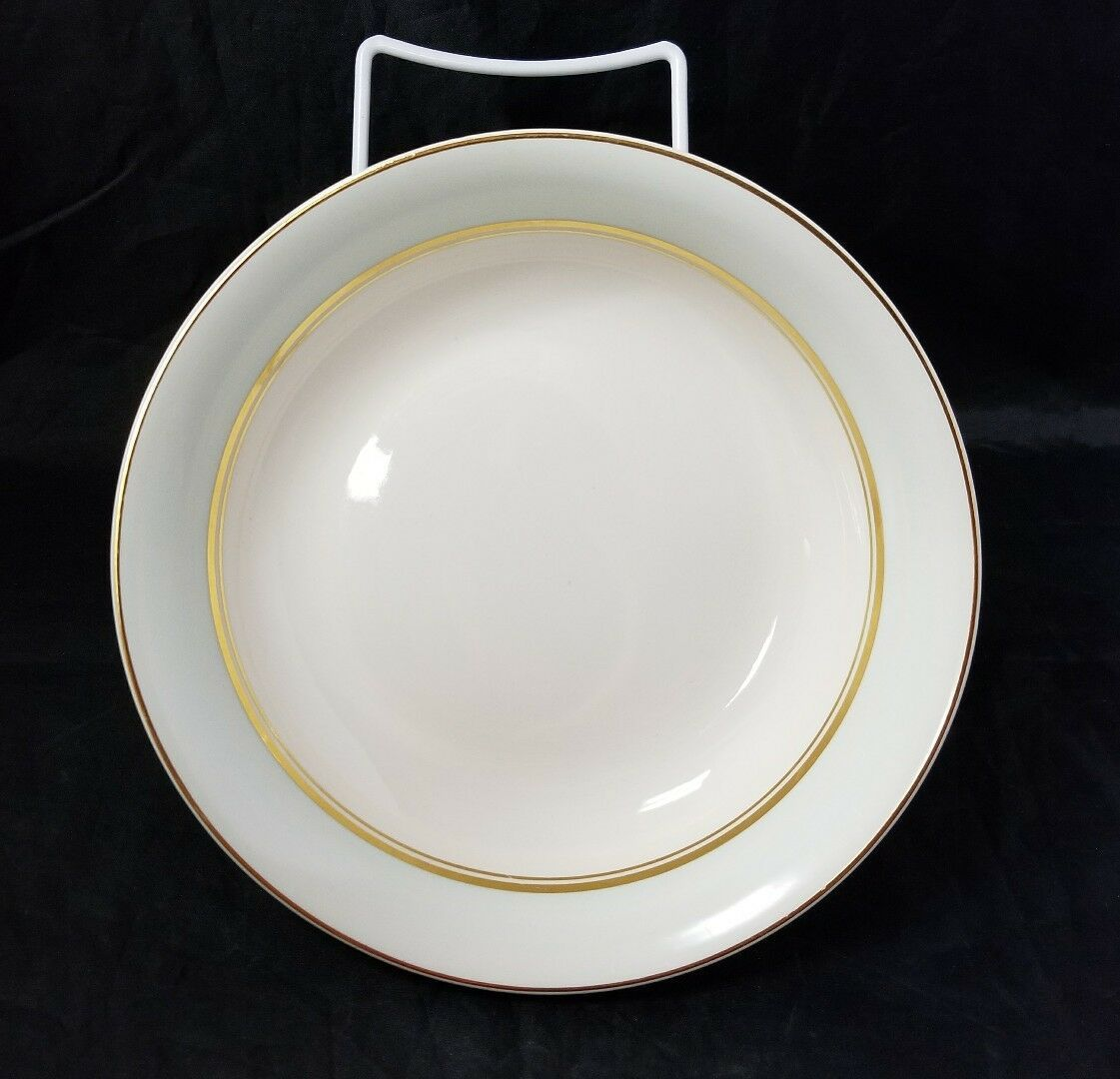 The French Saxon China Co Soup Salad Bowls Set of 4, 22kt Gold, Pottery Made USA