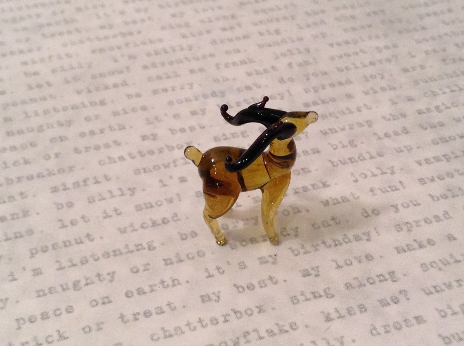 Micro miniature hand blown glass figurine amber Reindeer USA NIB