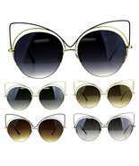 Womens Metal Rim Round Circle Lens Cat Eye Diva Goth Sunglasses - £9.88 GBP
