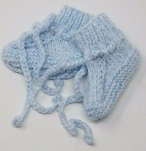 Handmade Knitted Baby Boys Booties, Blue - $7.99