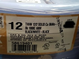 Southwire #12awg/2C Solid THHN/THWN-2 Building Wire Black/White /50ft - $39.59