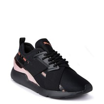 Neu Damen PUMA Muse Metall Athletic Schuhe Schwarz Rotgold X-2 - $100.08