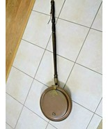 VINTAGE COPPER & BRASS BED WARMER / FIREPLACE COOKER w/LONG WOOD HANDLE-... - $35.64