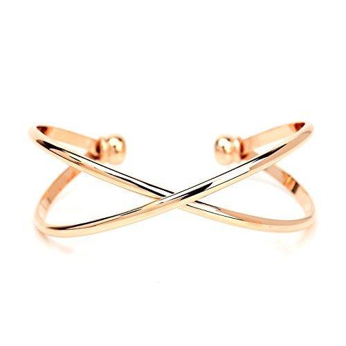 UE- Stylish & Trendy Rose Gold Tone Designer Infinity Bangle Bracelet