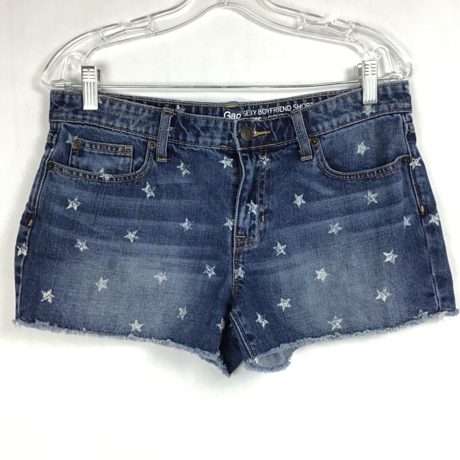 GAP Womens Sz 6/28 Sexy Boyfriend Fit Shorts Cut-Off Patriotic Stars Denim Jean