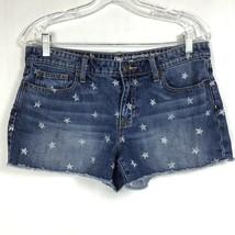 GAP Womens Sz 6/28 Sexy Boyfriend Fit Shorts Cut-Off Patriotic Stars Denim Jean image 1