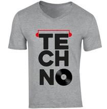 Techno Vinyl 2 - New Cotton Grey V-NECK Tshirt - $26.10