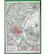 1907 (2) Two MAPS ORIGINAL Baedeker - PARIS St. Germain & Environs France - $4.73