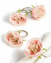 4 Martha Stewart Royal Blush Roses Napkin Rings Holders Nwt Free Shipping - $34.64