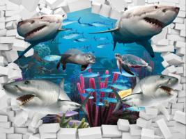 Underwater Sharks Feature Wall Art Mural Photo Wall Paper Self Adhesive Vinyl - $43.11+