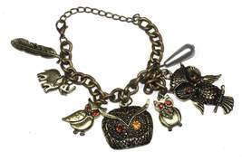 Owl, Elephant & Feather Charm Bracelet - $14.99