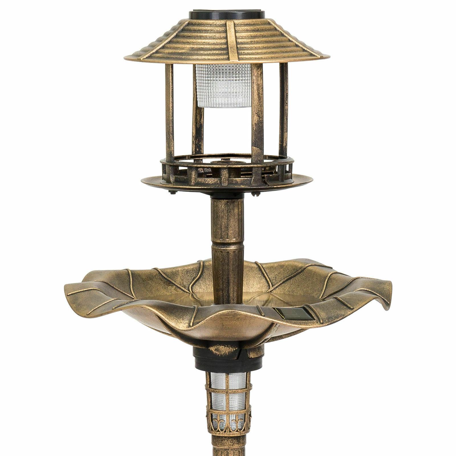 Outdoor Bronze Solar LED Light Bird Bath Water Bowl Garden Flower Planter Decor