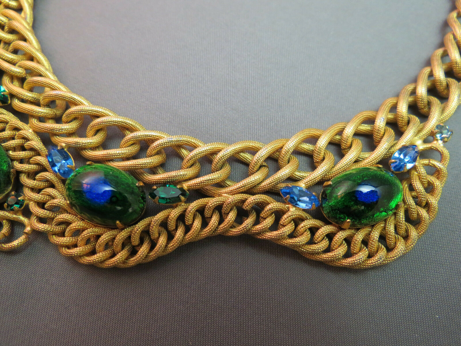 VTG Brania Bib Necklace Mimi Di N Collar Parue Blue Rhinestones Peacock Eye Cabs image 6