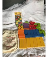 Set of 49 Buncha Color Wood Blocks Building with bag and New 15 Alphabet... - $19.38